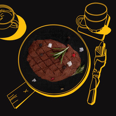 Delicious steak.