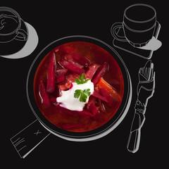 Delicious borsch soup.