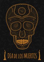 Dia de Muertos Tattoo Skull Day of The Dead Monochrome. Flyer Template. stone texture