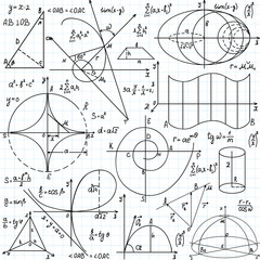 "Beautiful vector seamless pattern with mathematical figures and plots, ""handwritten on the copybook paper"""