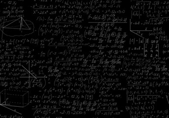 Mathematics vector seamless black and white pattern, scalable. You can use any color of background