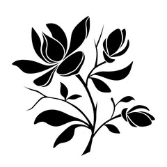 Vector black silhouette of magnolia flowers on a white background.