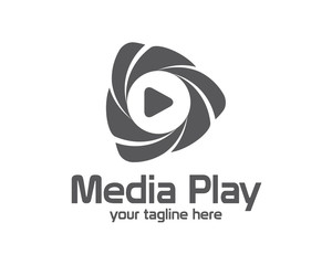 3D media play logo design. Colorful 3D media play logo vector te