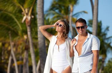 Beautiful tourist couple