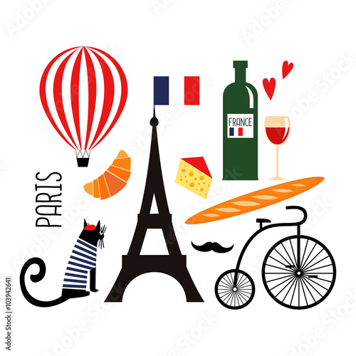 Cute Cartoon French Culture Symbols Wine Eiffel Tower Baguette Retro Bicycle