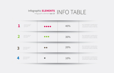 infographics table background / modern infographics template, options, steps, rows, column, graph Wall mural