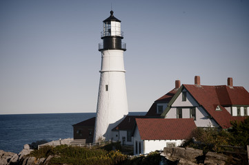 Portland Head Lighthouse is vibrant in the afternoon light in Portland, Maine