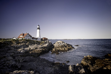 Panoramic view of scenic Portland Head Lighthouse in Portland, Maine.