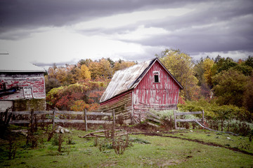 "A crumbling farm shed and fences give a vintage ""artist's sketch"" to a farmstead in West Charlton, New York."