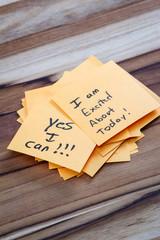 Positive messages on a desk