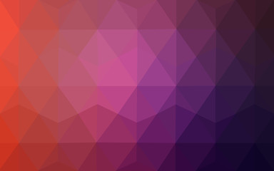 Multicolor pink, red, orange polygonal design pattern, which consist of triangles and gradient in origami style.
