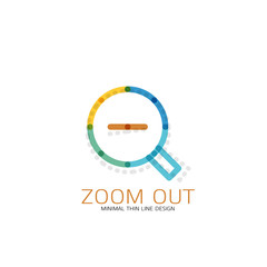 Vector thin line design logo magnifying glass, search and find or zoom logotype concept. Linear minimalistic business icon