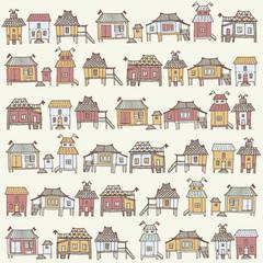 Cartoon houses in vector.