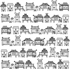 Thai style houses . Set of Hand drawn houses.