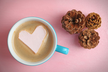 Cup of hot cappuccino with heart marshmallow and pine cones on pink background, close up