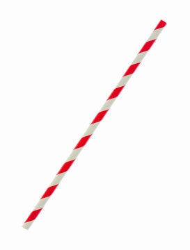 Red striped papaer straw isolated on white