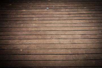 Wall Mural - Old and weathered dark brown wood plate floor