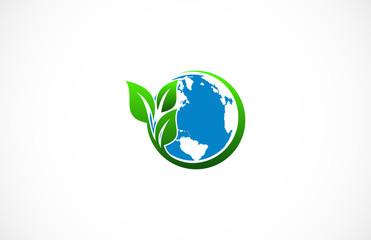 circle green leaf globe logo