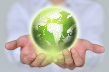 earth in hands.ecology,concept.
