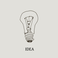 Vector hand drawn lightbulb image on a light background.