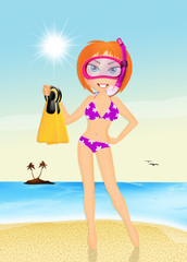 girl with scuba mask and fins