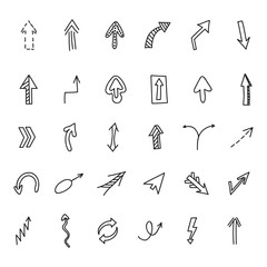 Arrows set. Vector hand drawn by pen for your design. Doodle sketch style.