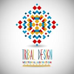 Geometric hipster tribal bright pixel design. Vector illustration