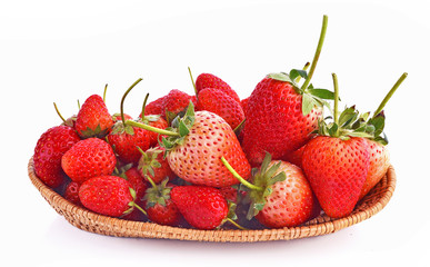 Wall Mural - Strawberry in basket on white background