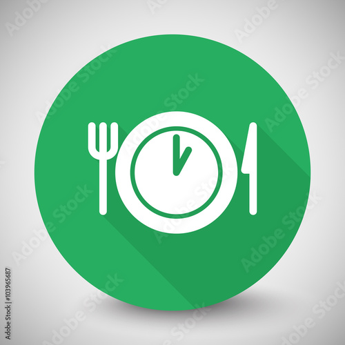White Lunch Time Icon With Long Shadow On Green Circle