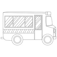 Coloring Book Outlined School Bus