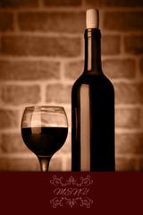 Studio Shot of wine Bottles and glass menu illustration