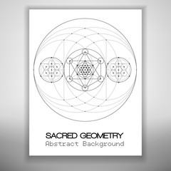 bstract brochure template with sacred geometry drawing, Metatrons Cube and hexagrammas in circles. Vector illustration.