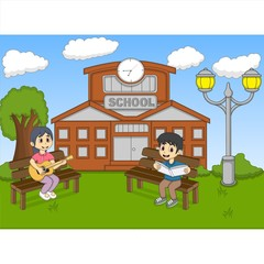 Children reading a book and playing guitar in front of their school cartoon