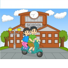 A couple riding a scooter in front of their school cartoon