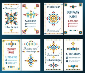 Set of cards with bright tribal geometric ornament. Vector background. Oriental motifs. Modern design elements with text template.