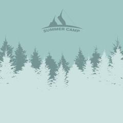Summer Camp. Image of Nature. Tree Silhouette. Vector Illustrati