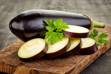 sliced eggplant on cutting board