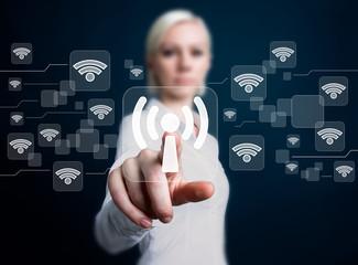 Social network business WiFi woman presses button wi fi