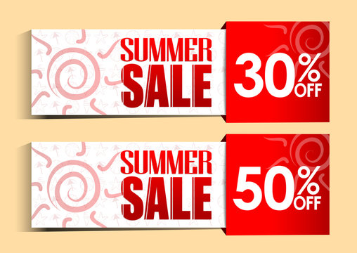 Summer Sale Tags and Signs with Sun and Patterns for Summer Promotions
