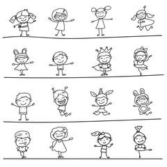 Set of blank Hand drawing cartoon happy kids