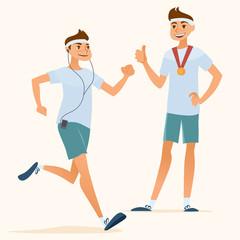 running men and happy champion