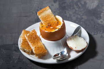boiled egg and crispy bread on plate