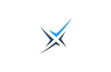 letter x check star logo