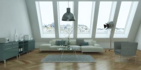 helles Wohnzimmer im Dachgeschoß