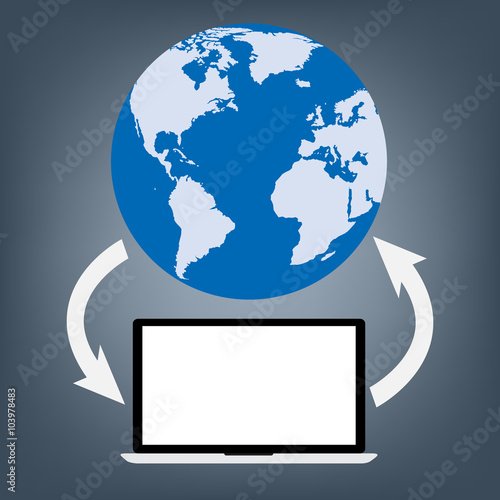 Computer laptop connected to world map globe for upload and download computer laptop connected to world map globe for upload and download gumiabroncs Gallery