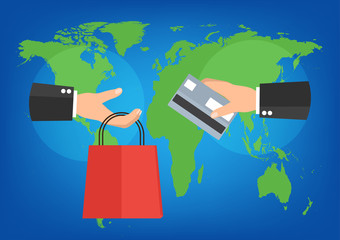 Businessman holding shopping bag and credit card for online shop.