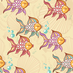 Photo sur Plexiglas Hibou Seamless pattern of beautiful fish