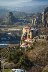 View of the mountains and monasteries of Meteora in winter, Gree