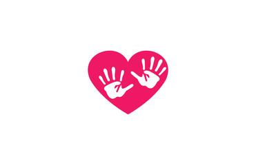 hand heart logo social