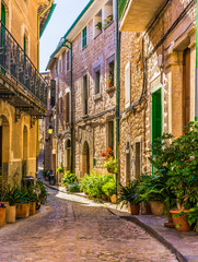 Wall Mural - Picturesque street of a old mediterranean village